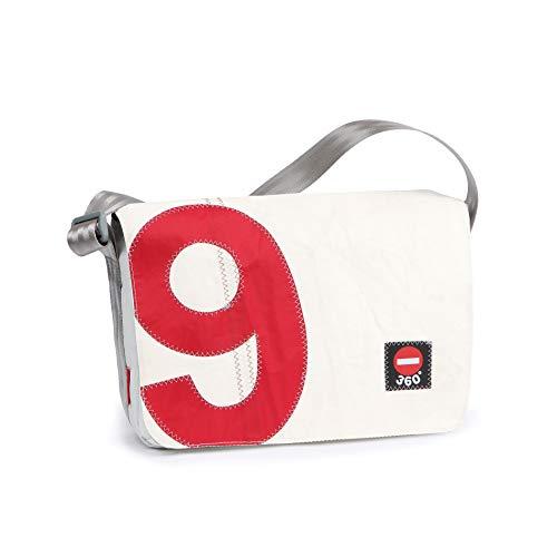 360° Barkasse Mini Segeltuchtasche, Recycling Laptoptasche bis 13\'\' Zoll, Umhängetasche weiß, Zahl rot Crossover, Messengerbag