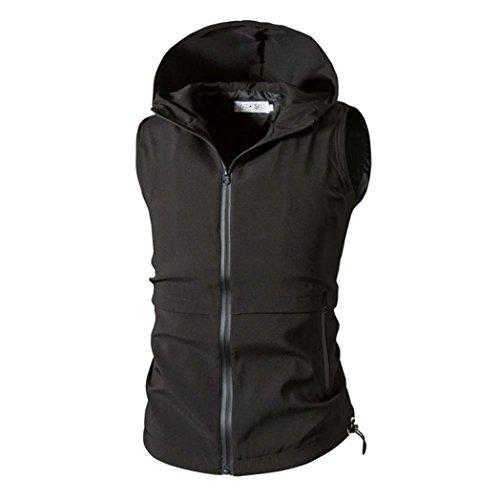 Casual Zipper Hooded Jacken Weste für Herren, Amlaiworld 2017 New Style Ärmelloses Sweatshirt (XL, Schwarz)