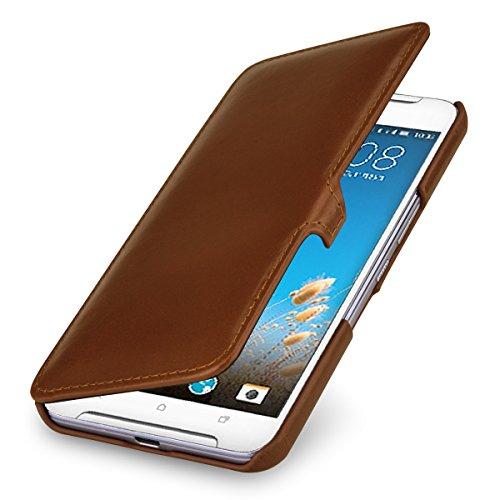StilGut Book Type Case, Hülle Leder-Tasche kompatibel mit HTC One X9, Cognac mit Clip