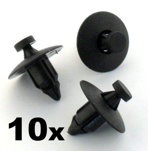 10x Clip a Rivetto Paraurti Pannello Interni in Plastica Nissan / Honda (91545-SE0-003 ; 01553-08541 ; 63848-01G00)