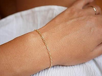 Bracelet gourmette fine plaqué or - bracelet chaine fine dorée - bracelet minimaliste - maillon large - gourmette femme doré -fin empilable