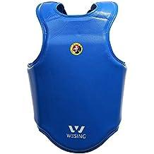 Sanda Protector de pecho para Competetion wesing piel Kickboxing protector de pecho boxeo cuerpo SHIELD, Blue Male