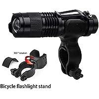 BLUEUK 1SET 180 lúmenes linterna de aleación de aluminio fuerte luz impermeable al aire libre flash zoom bicicleta de montaña