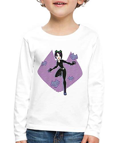 Spreadshirt DC Super Hero Girls Catwoman Masken Kinder Premium Langarmshirt, 110/116 (4 Jahre), Weiß
