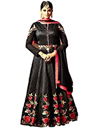 Kyara Women's Georgette Semi-Stitch Embroidered Dress Material (K04_Black _Free Size)
