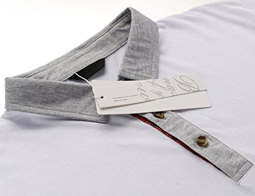 Wixens Herren Poloshirt Kurzarm Karo Patchwork Sommer T-Shirt Men's Polo Hemd Weiß