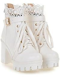 Heart&M Mujer Zapatos PU Invierno Confort Botas Tacón Robusto Plataforma Dedo redondo Con Para Casual Blanco Negro , black , us6.5-7 / eu37 / uk4.5-5 / cn37
