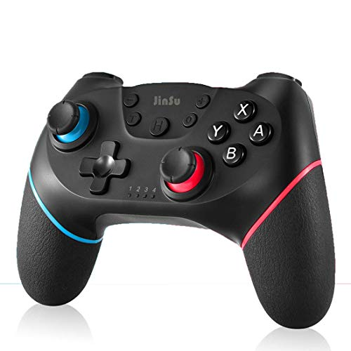JinSu Controller Wireless per Nintendo Switch, Switch Console Joypad Bluetooth, Dual Vibration/Turbo/Gyro Axis Function Gamepad (Nero)