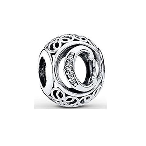 Breloque pour bracelet Pandora Chamilia, en argent sterling, lettre C