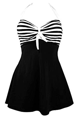 SAYANG Pin Up Maillot Une Pièce Classique Marine Skirtini Cover