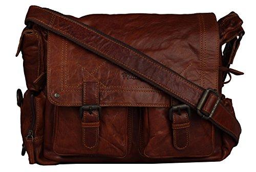 FFelsenfest Vintage Messenger Überschlagtasche | ECHT LEDER - pflanzlich gegerbt | 37x24x17cm | Viele Steckfächer vorhanden (antikbraun) Braun (Cognac)