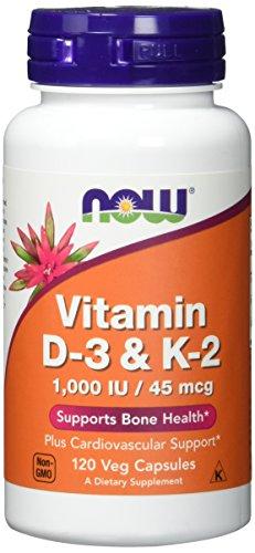 Now Foods | Vitamin D3 und K2 |  1,000 IE und 45 mcg | 120 Kapseln | hochdosiert | Vegetarisch | ohne Gentechnik | Glutenfrei | Sojafrei