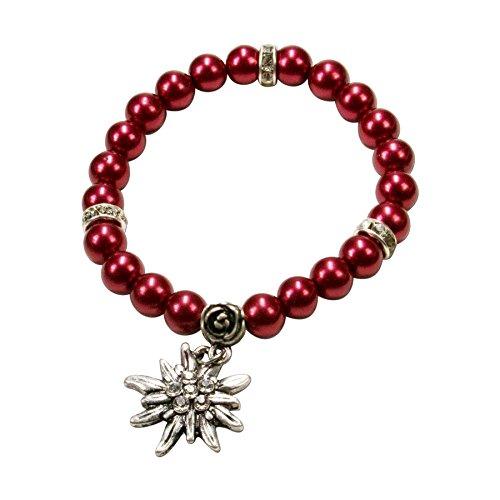 Alpenflüstern Perlen-Trachten-Armband Fiona mit Strass-Edelweiß - Damen-Trachtenschmuck, Elastische Trachten-Armkette, Perlenarmband Rot DAB011