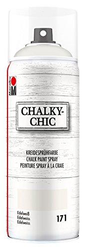 Marabu 02630018171 - Chalky Chic Spray, deckende, matte Kreidesprühfarbe auf Wasserbasis, für samtweiche Oberfläche auf Holz, Metall und Kunststoff, Used Look durch Anschleifen, 400 ml, edelweiß