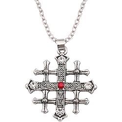 Lemegeton Collar con colgante de cruz medieval de la Cruz de Jerusalén, cristal rojo, joyería retro, cristiana