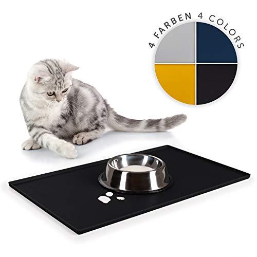 EVERANIMALS Rutschfeste Napfunterlage Hund Katzen - Fressnapf Unterlage, Silikonmatte (50 x 30 cm - Schwarz)
