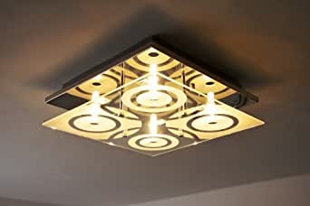 Ceiling light halogen squared glass with pattern
