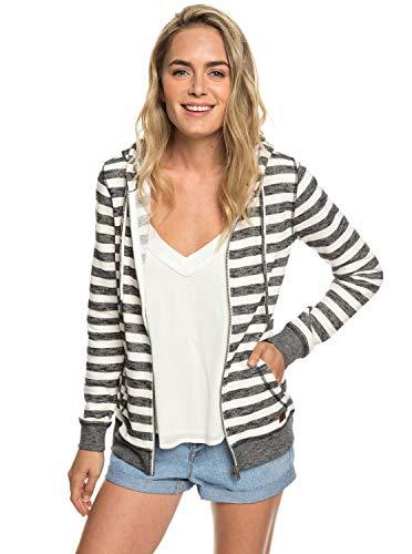 Damen Fleece Top (Roxy Damen Trippin Fleece Top, Black 2x2 Stripe, L)