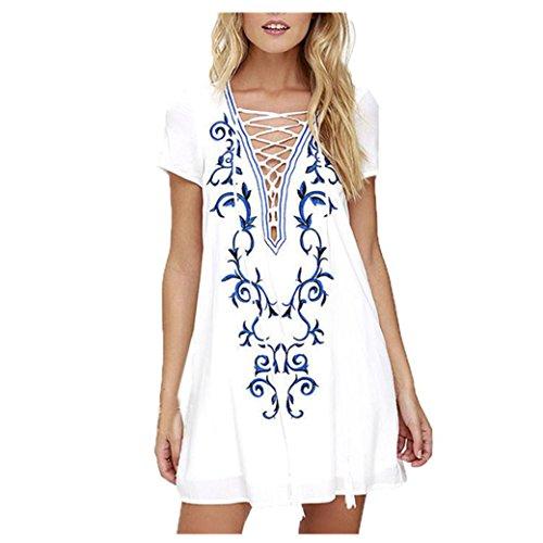 Damen Sommerkleid, Bekleidung Longra Damen Vintage Ethno bestickt Hippie Locker lässige Kurzarm Mode Frauen Minikleid (Asian s(Bust:94CM/37.0), White) (Hippie Rock Bestickt)