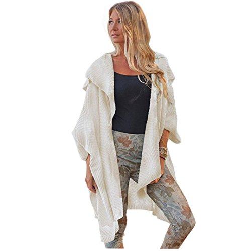 Femmes Manche longue grande taille Loose Tricoté Chandail Cardigan Outwear Manteau Beige