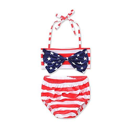 HBER Alter 2-6 Kleinkind Baby Kleine M?dchen 2 St¨¹ck Badebekleidung Bikini Set Gestreifte Halfter Badeanz¨¹ge Star Bowknot Top + Bottom (Halfter Rot Gestreifte)
