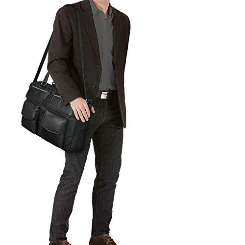STILORD 'Kansas' Borsa vintage da Ufficio in vera pelle Portadocumenti Piccola borsa da viaggio Valigetta 24 ore Cuoio Uomo Donna, Colore:nero