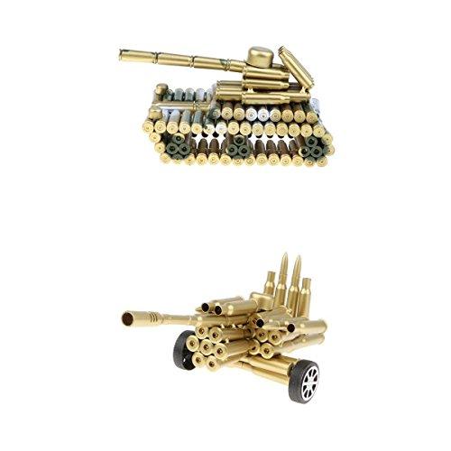 perfeclan 2 Paket Kreative Metallkugel Shell Artillerie \u0026 Armee Modell Kits Home Office Dekoration Handwerk, Sammlung Geschenke -