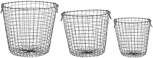 Rivanto® 3er Set Drahtkörbe mit Aufhänge-Haken, Größe L, 30,8 x 30,8 x 30,4 cm, rund, aus Eisendraht, in 3 verschiedenen Größen