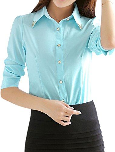 sourcingmap Femme Manches Longues Chemise Coupe Cintrée Bleu Clair