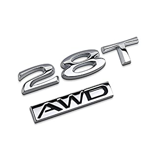 Dsycar 1Set 3D Metal 28T AWD Car Side Fender Rear Trunk Emblem Badge Sticker Decals for Universal Cars Motorcycle Car Styling Decorative Accessories