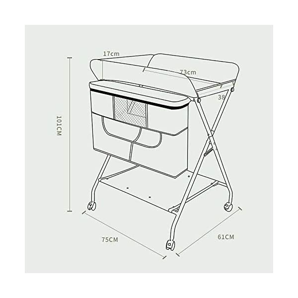 MUBAY Home Care Folding Table With Storage Basket and Shelf Baby Care Table, Baby Changing Table Baby Bathing Table Massage Touch Table Can Be Folded (Color : Blue) MUBAY Infant Changing Table Material: PU Oxford cloth + iron pipe. Baby Changing Table can be used as baby massaging table as well. It offers the comfort and practicality. It is designed at the proper height of parent to prevent mom's back aches and pains from kneeling or bending when changing diapers to babies. It has open shelving which adds extra security. Changing Diaper Station Stable Construction - Non-skid feet covers and a sturdy frame keep the table stable and prevent movement. All our products are designed with the safety of your little ones in mind. 4