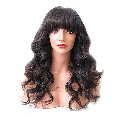 Ugeat 22zoll Frontal Lace Wig 130% Density Haarperücke mit Pony Human Hair Wig Long Natural Wave Schwarz Brazilian Wigs Human Hair (Remy Perücken Mit Pony)