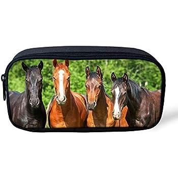 Showudesigns Filles Gar/çons Enfants Trousse Papeterie Pouch /école Stylo crayon Organiseur Cheval Bureau Trousse Horse