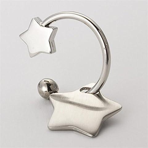 LILSN- Creative étoiles Concise Langue Keychain Voiture Porte-clés en métal clés pendentif anneau Hommes Femmes ( Couleur : #1 )