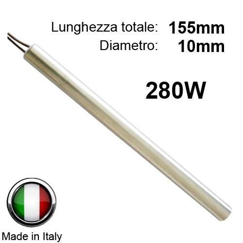 Easyricambi Bougies d'allumage pour poêle à pellets 280W 155mm ; diamètre 10mm ; pour la Nordica Extraflame