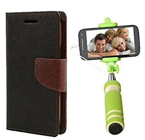 Aart Fancy Diary Card Wallet Flip Case Back Cover For Samsung E5 - (Blackbrown) + Mini Aux Wired Fashionable Selfie Stick Compatible for all Mobiles Phones By Aart Store