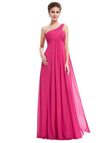 Ever Pretty Damen Lange One Shoulder Chiffon Abendkleider Festkleider Größe 48 Hellrosa