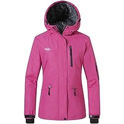 Wantdo Femme Manteau d'hiver Blouson d'extérieur Anorak à Capuche avec Polaire Veste de Ski Imperméable Coupe-Vent pour Hiver Rose Small