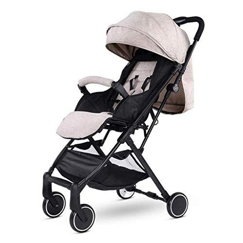 LBBHHSJ Kinderwagen Baby, Kinderwagen sitzend horizontal tragbar zusammenklappbar 4 Rad Aufhängung Regenschirm Travel (Farbe: Braun)