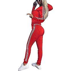 Minetom Tomwell Mujeres 3 Piezas Chándal Deportivos Hoodie Abrigo Sweatshirt Sudadera con Capucha + Chaleco Chaqueta + Pantalones Rojo ES 38