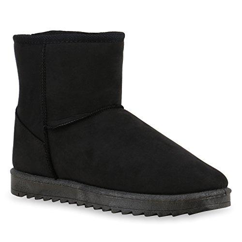 Damen Schuhe Schlupfstiefel Warm gefüttert Total Schwarz
