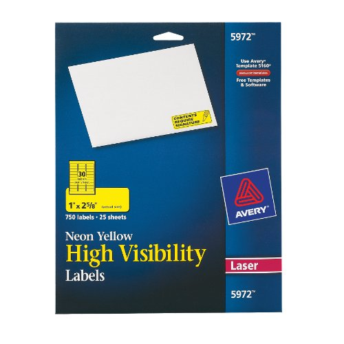 High-Visibility Laser Labels, 1 x 2-5/8, Neon Yellow, 750/Pack - Neon Laser Etichette