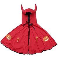BESTOYARD Disfraz de Cosplay de Halloween Disfraz de Capa de Capucha para Niños con Cuernos Disfraz