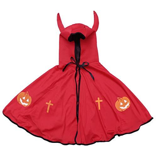 tüm Kapuzen Umhang Cape mit Hörnern Zauberer Hexe Halloween Cosplay Kostüm Party Kleidung (rot) ()