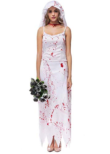 Kind Weiße Monster Kostüm Braut - Yuyudou Frauen Ghost Kostüm, Halloween Cosplay Horror Braut weißes Kleid, Erwachsener Fancy Dress Party Kostüme,Weiß,L