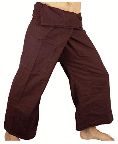 Fisherman Thaï Pantalon Pêcheur Homme Yoga Taille unique Yoga tissu épais marron