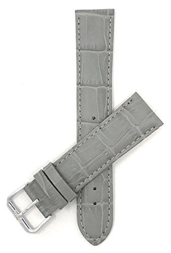 Leder Uhrenarmband 12mm für Damen, Grau, Alligatormuster, auch verfügbar in weiß, blau, rot, orange, rosa, dunkelgrün