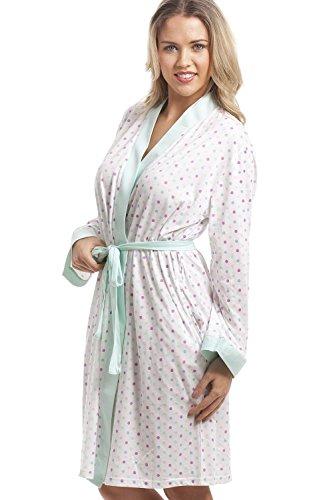 Robe de chambre en coton mélangé - motif à pois multicolores - turquoise et blanc Blanc