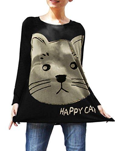 allegra-k-women-loose-fit-cartoon-cat-head-pattern-long-sleeve-tunic-top-s-black