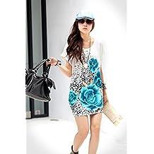 Vestido mujer talle ancho con detalle de leopardo y floral mod. FLEUR